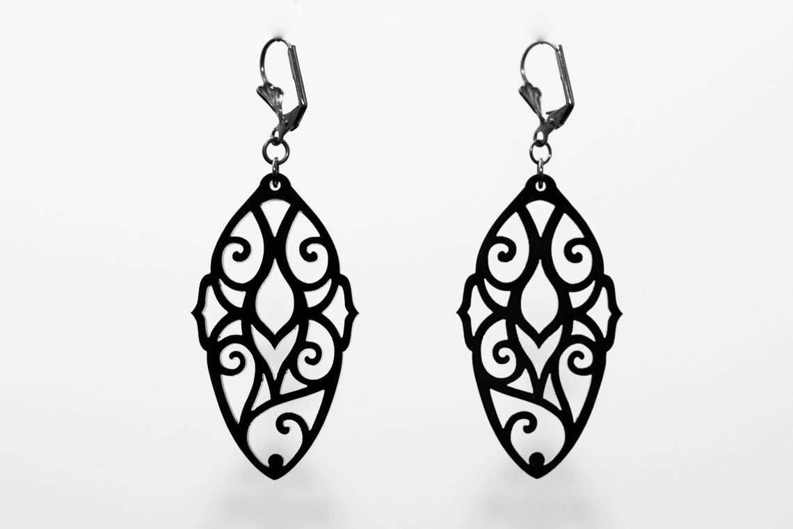 Pen and Process: Black Acrylic Earrings
