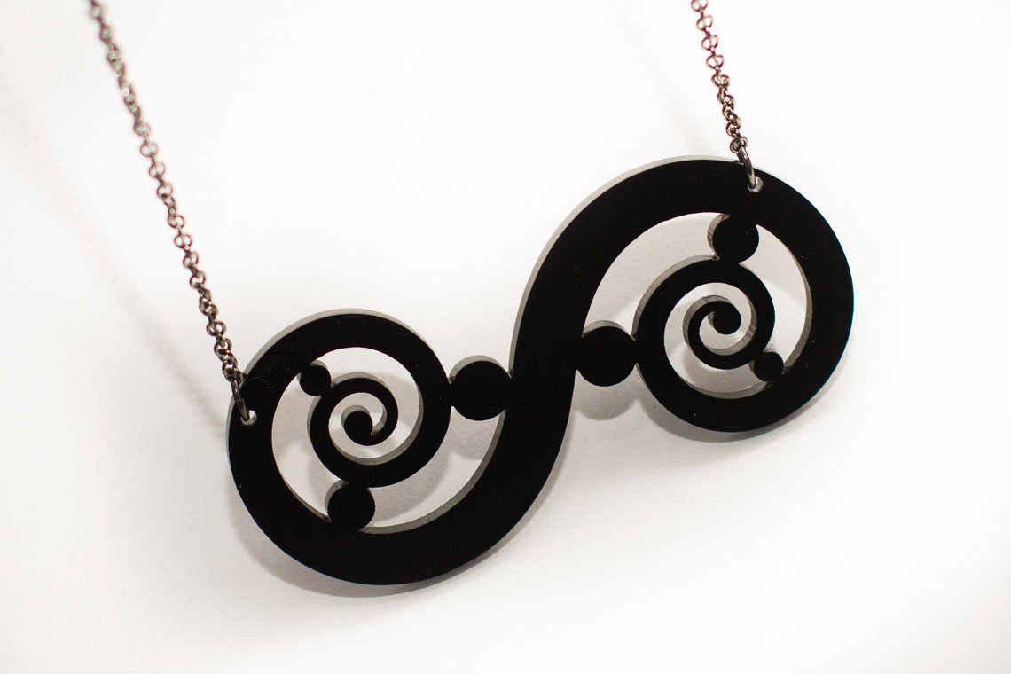 Pen and Process: Elegant Laser Cut Black Acrylic Necklace